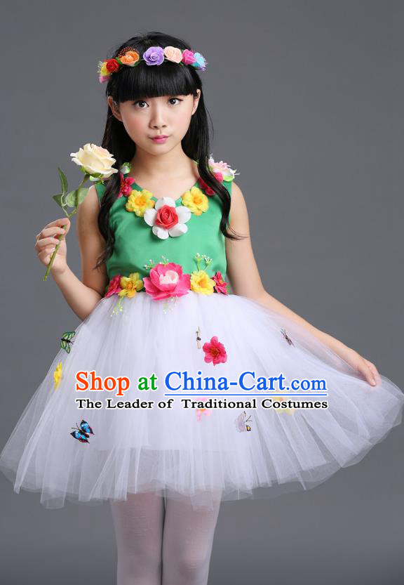 Top Grade Chinese Compere Professional Performance Catwalks Costume, Children Princess Bubble Veil Full Dress Modern Dance Green Dress for Girls Kids