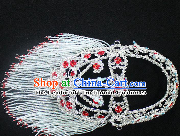 Traditional China Beijing Opera Young Lady Hair Accessories Head-ornaments, Ancient Chinese Peking Opera Hua Tan Headwear Diva Red Crystal Headpiece