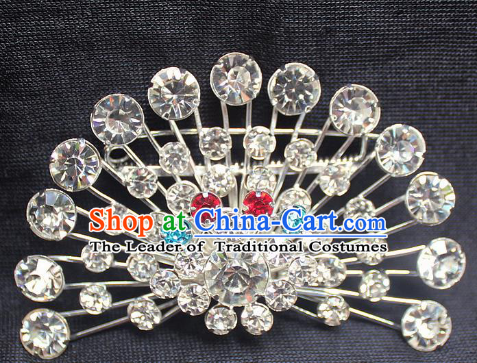 Traditional China Beijing Opera Young Lady Jewelry Accessories Collar Brooch, Ancient Chinese Peking Opera Hua Tan Diva Crystal Fanshaped Breastpin