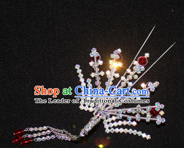 Traditional China Beijing Opera Young Lady Hair Accessories Phoenix Step Shake, Ancient Chinese Peking Opera Hua Tan Headwear Diva Hairpins