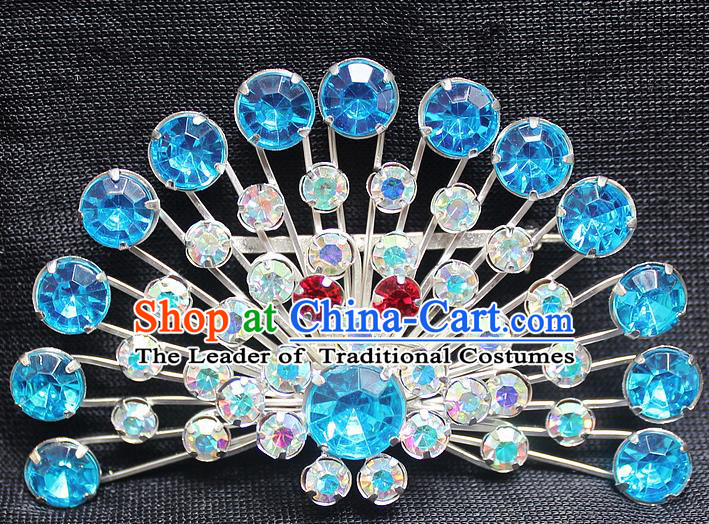 Traditional China Beijing Opera Young Lady Jewelry Accessories Collar Brooch, Ancient Chinese Peking Opera Hua Tan Diva Blue Crystal Fanshaped Breastpin