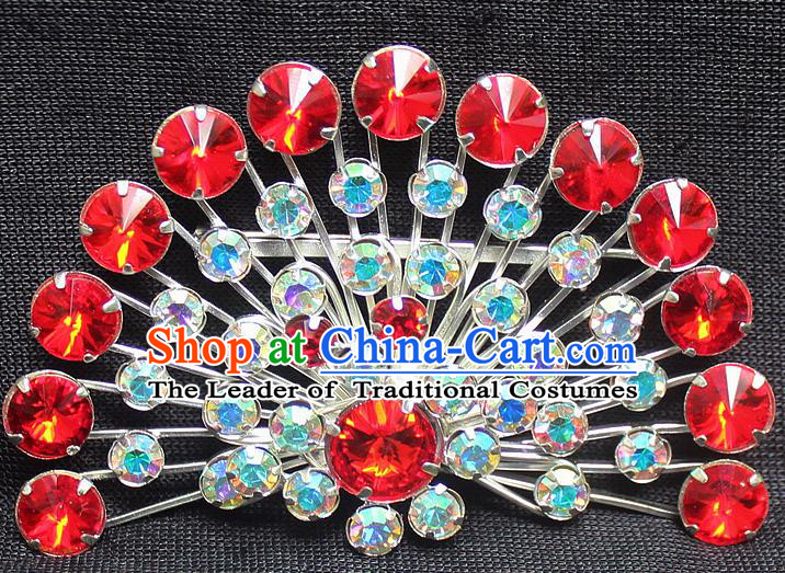 Traditional China Beijing Opera Young Lady Jewelry Accessories Collar Brooch, Ancient Chinese Peking Opera Hua Tan Diva Colorful Red Crystal Fanshaped Breastpin