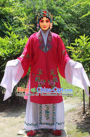 Traditional China Beijing Opera Young Lady Hua Tan Costume Embroidered Rosy Cape, Ancient Chinese Peking Opera Female Diva Embroidery Dress Clothing