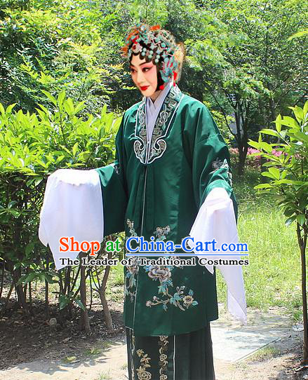 Traditional China Beijing Opera Young Lady Hua Tan Costume Embroidered Dark Green Cape, Ancient Chinese Peking Opera Female Diva Embroidery Dress Clothing