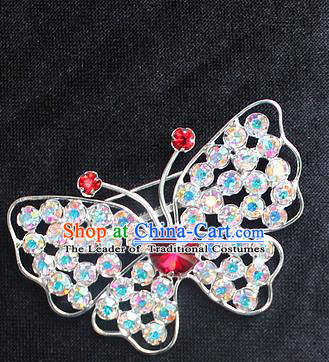Traditional China Beijing Opera Young Lady Jewelry Accessories Collar Brooch, Ancient Chinese Peking Opera Hua Tan Diva Colorful Red Crystal Butterfly Breastpin