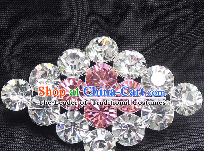 Traditional China Beijing Opera Young Lady Jewelry Accessories Collar Brooch, Ancient Chinese Peking Opera Hua Tan Diva Pink Crystal Rhombus Breastpin