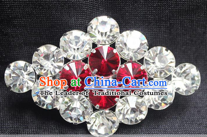 Traditional China Beijing Opera Young Lady Jewelry Accessories Collar Brooch, Ancient Chinese Peking Opera Hua Tan Diva Red Crystal Rhombus Breastpin