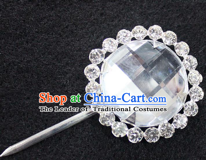 Traditional China Beijing Opera Young Lady Hair Accessories Crystal Hairpin, Ancient Chinese Peking Opera Hua Tan Headwear Diva Hairpins