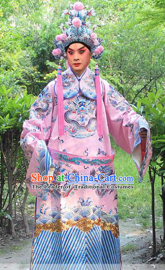 Traditional China Beijing Opera Costume General Embroidered Robe and Headwear Complete Set, Ancient Chinese Peking Opera Embroidery Dragon Gwanbok Clothing