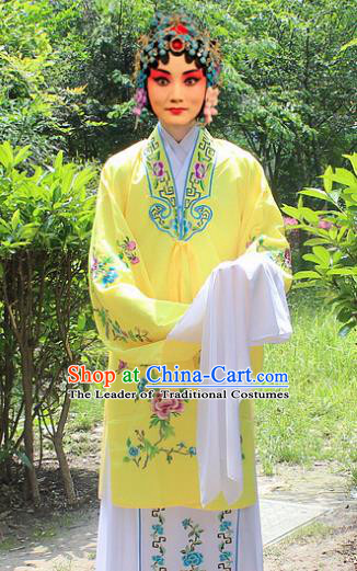 Traditional China Beijing Opera Young Lady Hua Tan Costume Embroidered Yellow Cape, Ancient Chinese Peking Opera Female Diva Embroidery Dress Clothing