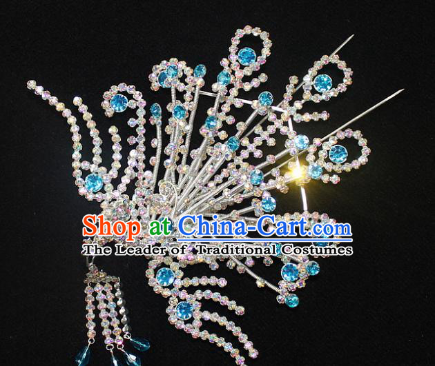 Traditional China Beijing Opera Young Lady Hair Accessories Phoenix Tassel Step Shake, Ancient Chinese Peking Opera Hua Tan Headwear Diva Blue Crystal Empress Hairpins