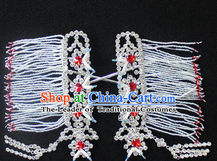 Traditional China Beijing Opera Young Lady Hair Accessories Temples Tassel Step Shake, Ancient Chinese Peking Opera Hua Tan Headwear Diva Crystal Empress Hairpins