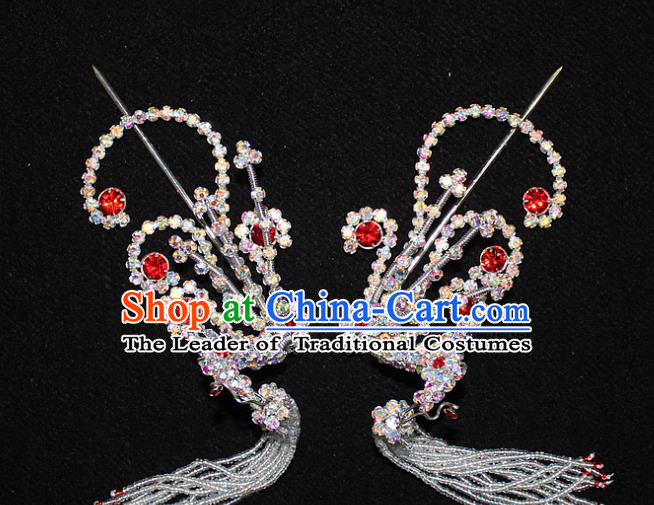 Traditional China Beijing Opera Young Lady Hair Accessories Tassel Step Shake, Ancient Chinese Peking Opera Hua Tan Headwear Diva Red Crystal Empress Phoenix Hairpins