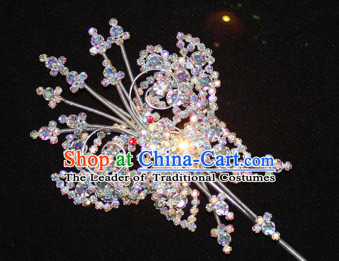 Traditional China Beijing Opera Young Lady Hair Accessories Tassel Step Shake, Ancient Chinese Peking Opera Hua Tan Headwear Diva Colorful Crystal Empress Butterfly Hairpins