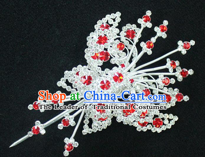 Traditional China Beijing Opera Young Lady Hair Accessories Tassel Step Shake, Ancient Chinese Peking Opera Hua Tan Headwear Diva Red Crystal Empress Butterfly Hairpins