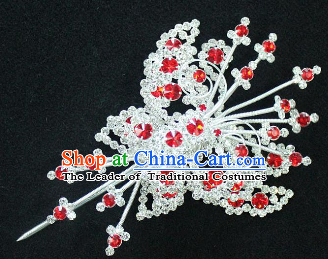 Traditional China Beijing Opera Young Lady Hair Accessories, Ancient Chinese Peking Opera Hua Tan Headwear Diva Crystal Empress Butterfly Hairpins Head-ornaments