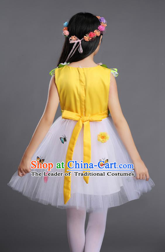 Top Grade Chinese Compere Professional Performance Catwalks Costume, Children Princess Bubble Veil Full Dress Modern Dance Yellow Dress for Girls Kids