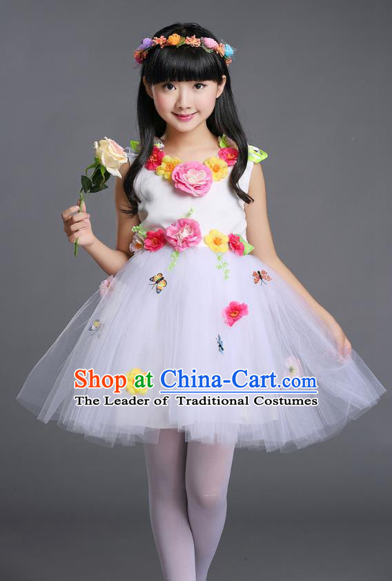 Top Grade Chinese Compere Professional Performance Catwalks Costume, Children Princess Bubble Veil Full Dress Modern Dance White Dress for Girls Kids
