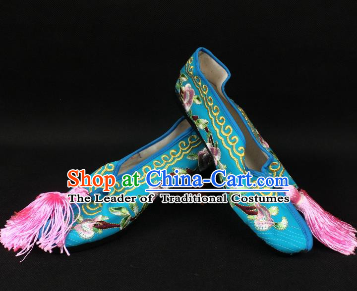 Traditional China Beijing Opera Hua Tan Embroidered Blue Shoes, Ancient Chinese Peking Opera Young Lady Diva Princess Blood Stained Shoes