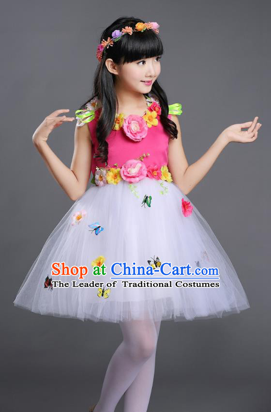 Top Grade Chinese Compere Professional Performance Catwalks Costume, Children Princess Bubble Veil Full Dress Modern Dance Rosy Dress for Girls Kids
