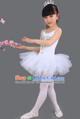 Top Grade Chinese Compere Professional Performance Catwalks Costume, Children Princess Bubble Veil Full Dress Modern Ballet Dance Dress for Girls Kids