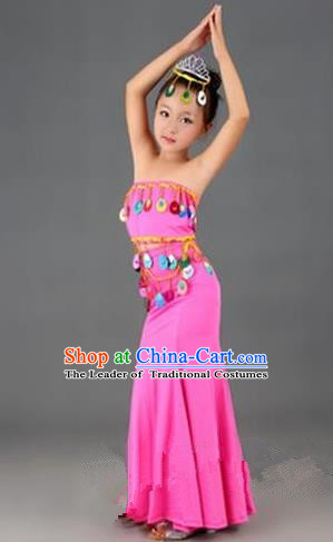 Traditional Chinese Dai Nationality Peacock Dance Costume, Folk Dance Ethnic Costume, Chinese Minority Nationality Dance Pink Dress for Kids