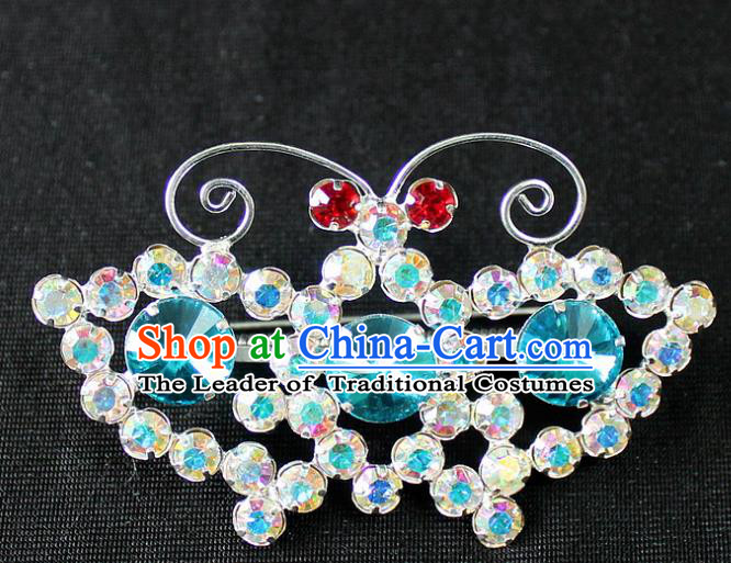 Traditional China Beijing Opera Young Lady Jewelry Accessories Butterfly Brooch, Ancient Chinese Peking Opera Hua Tan Diva Blue Crystal Breastpin