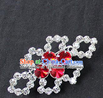 Traditional China Beijing Opera Young Lady Jewelry Accessories Collar Brooch, Ancient Chinese Peking Opera Hua Tan Diva Red Crystal Breastpin