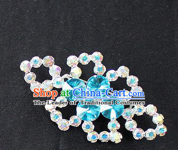 Traditional China Beijing Opera Young Lady Jewelry Accessories Collar Brooch, Ancient Chinese Peking Opera Hua Tan Diva Blue Crystal Breastpin