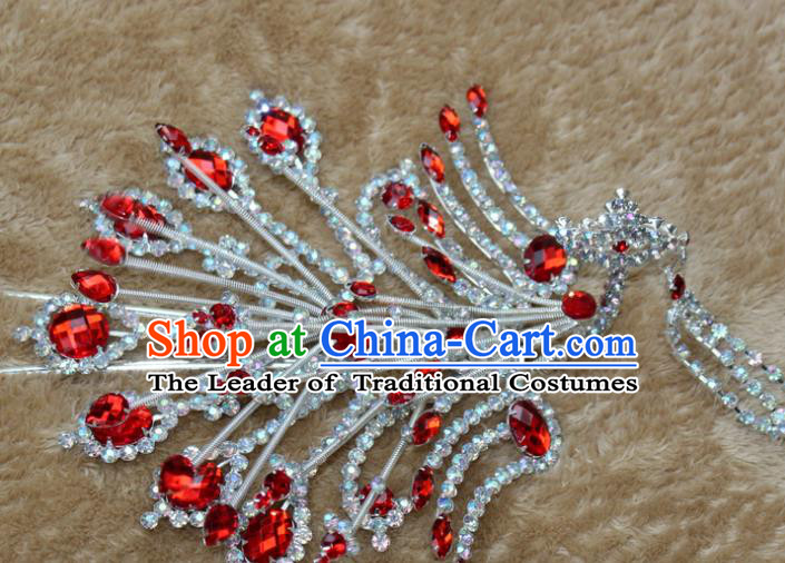 Traditional China Beijing Opera Young Lady Hair Accessories Red Crystal Phoenix Step Shake, Ancient Chinese Peking Opera Hua Tan Headwear Diva Hairpins