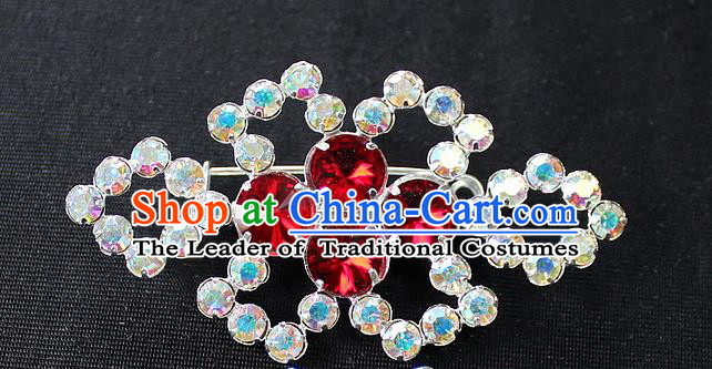 Traditional China Beijing Opera Young Lady Jewelry Accessories Collar Brooch, Ancient Chinese Peking Opera Hua Tan Diva Red Colorful Crystal Breastpin
