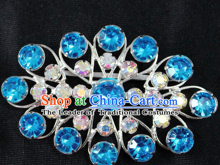 Traditional China Beijing Opera Young Lady Jewelry Accessories Blue Crystal Collar Brooch, Ancient Chinese Peking Opera Hua Tan Diva Blue Colorful Breastpin