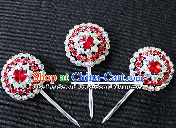 Traditional China Beijing Opera Young Lady Hair Accessories, Ancient Chinese Peking Opera Hua Tan Diva Blue Colorful Hairpins