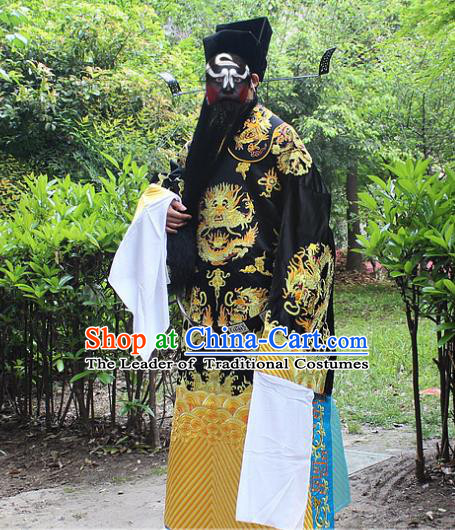 Traditional China Beijing Opera Costume Bao Zheng Embroidered Robe and Headwear, Ancient Chinese Peking Opera Embroidery Gwanbok Clothing