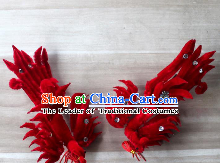 Traditional China Beijing Opera Young Lady Hair Accessories Red Lint Phoenix Step Shake, Ancient Chinese Peking Opera Hua Tan Headwear Diva Hairpins