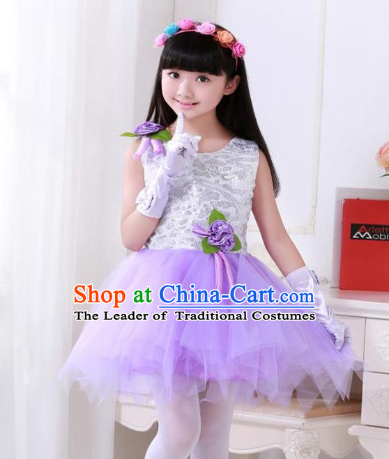 Top Grade Chinese Compere Professional Performance Catwalks Costume, Children Princess Purple Veil Bubble Full Dress Modern Dance Dress for Girls Kids
