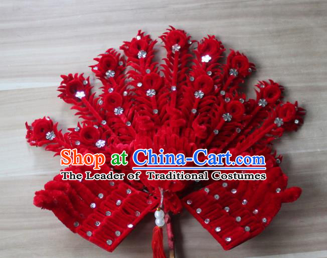 Traditional China Beijing Opera Young Lady Hair Accessories Red Lint Phoenix Tassel Step Shake, Ancient Chinese Peking Opera Hua Tan Headwear Diva Hairpins
