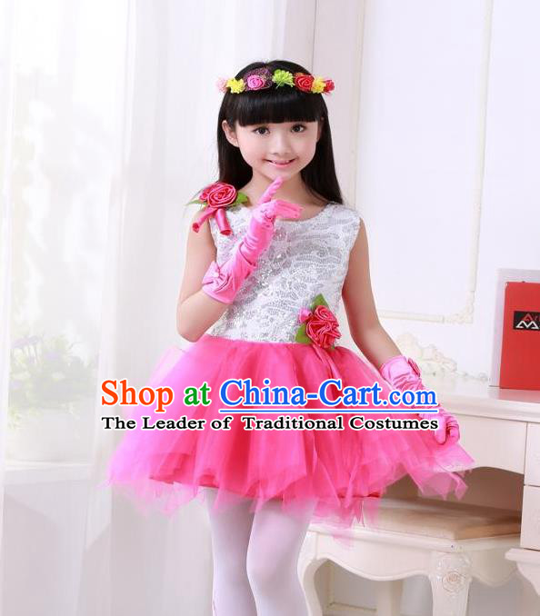 Top Grade Chinese Compere Professional Performance Catwalks Costume, Children Princess Rosy Veil Bubble Full Dress Modern Dance Dress for Girls Kids