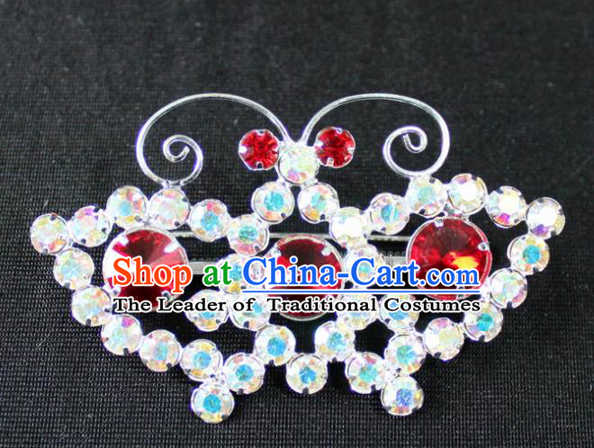 Traditional China Beijing Opera Young Lady Jewelry Accessories Butterfly Brooch, Ancient Chinese Peking Opera Hua Tan Diva Red Crystal Breastpin