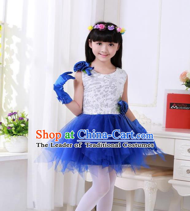 Top Grade Chinese Compere Professional Performance Catwalks Costume, Children Princess Blue Veil Bubble Full Dress Modern Dance Dress for Girls Kids