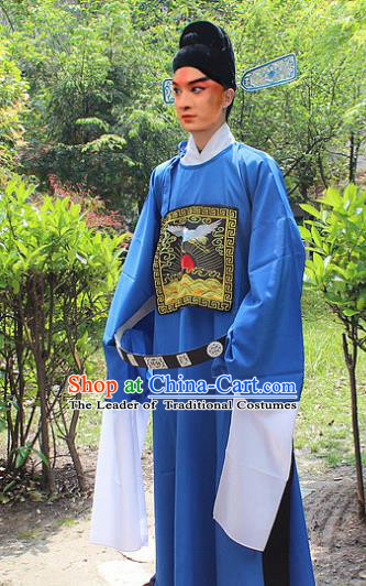 Traditional China Beijing Opera Niche Costume Lang Scholar Blue Embroidered Robe and Headwear, Ancient Chinese Peking Opera Embroidery Magistrate Gwanbok Clothing