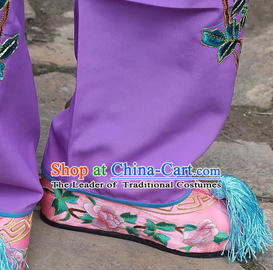 Traditional China Beijing Opera Hua Tan Embroidered Pink Shoes, Ancient Chinese Peking Opera Young Lady Diva Princess Embroidery Blood Stained Shoes