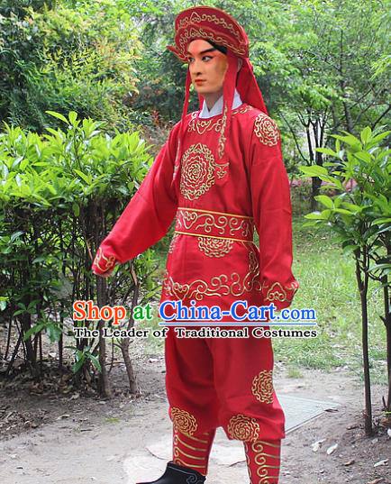 Traditional China Beijing Opera Costume Swordsman Takefu Embroidered Red Uniform and Headwear, Ancient Chinese Peking Opera Embroidery Warrior Clothing