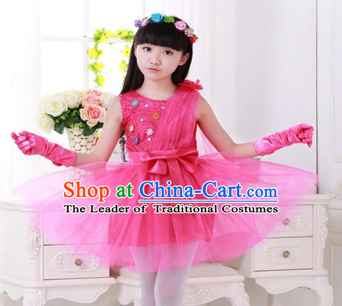 Top Grade Chinese Compere Professional Performance Catwalks Costume, Children Princess Rosy Veil Bubble Dress Modern Dance Dress for Girls Kids