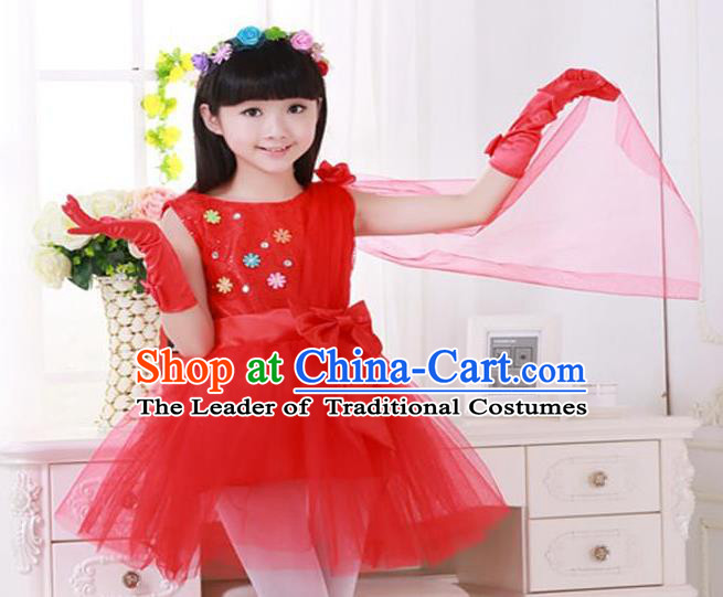 Top Grade Chinese Compere Professional Performance Catwalks Costume, Children Princess Red Veil Bubble Dress Modern Dance Dress for Girls Kids