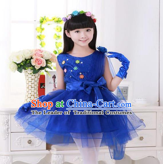 Top Grade Chinese Compere Professional Performance Catwalks Costume, Children Princess Deep Blue Veil Bubble Dress Modern Dance Dress for Girls Kids