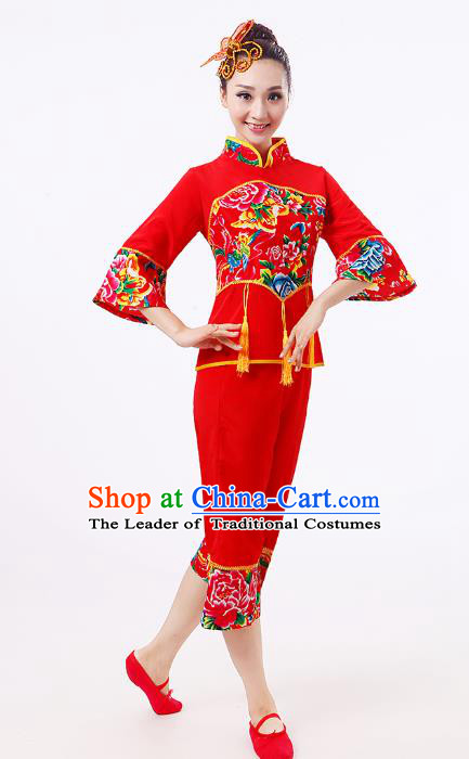 Traditional Chinese Classical Dance Yangge Fan Dance Red Costume, Folk Dance Waist Drum Dance Clothing Yangko Uniform for Women