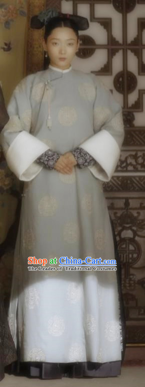 Story of Yanxi Palace Traditional Ancient Chinese Qing Dynasty Manchu Princess Costume, Chinese Mandarin Las Meninas Embroidered Dress Clothing for Women