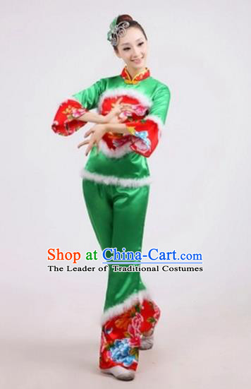 Traditional Chinese Classical Dance Yangge Fan Dance Embroidery Peony Green Costume, Folk Dance Waist Drum Dance Clothing Yangko Uniform for Women