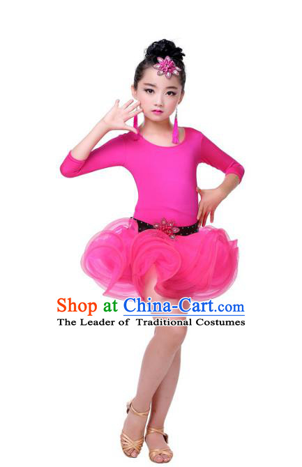 Top Grade Chinese Compere Professional Performance Catwalks Costume, Children Rosy Bubble Dress Modern Latin Dance Dress for Girls Kids